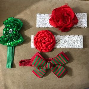 Other - Fancy Christmas headbands red green bows flowers